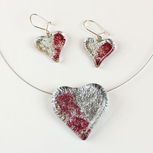 Heart Shape Lilac And Silver Color Fused Glass Jewel Set