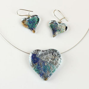 Blue and Silver Color Heart Shape Fused Glass Jewel Set