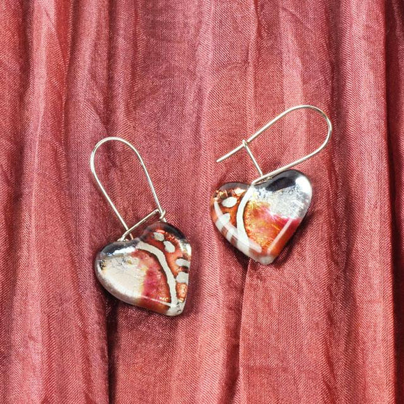 Heart Shape Shape Claret and Sparkly Silver Color Handpainted Glass Earrings