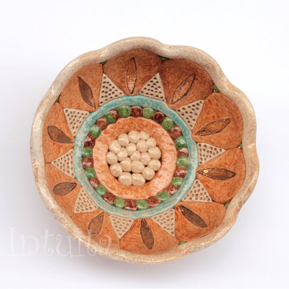 Small Flat Mustard Yellow Color Flower Petal Design Gilded Mosaic Ceramic Bowl