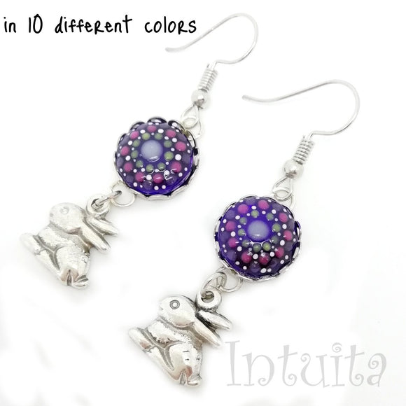 Glow-in-the-dark Dot Painted Glass Earrings With Bunny Charm
