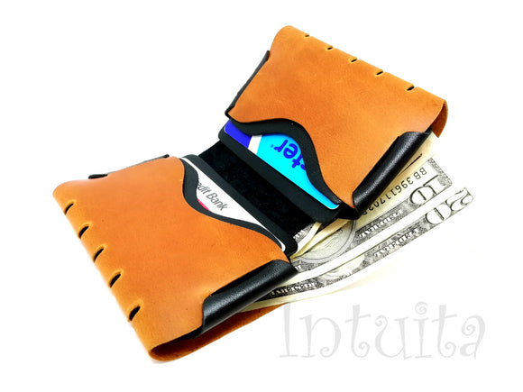 Ochre Yellow Seamless Leather Wallet For Men