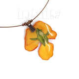 Small, Orange Real Pressed Flower Pendant