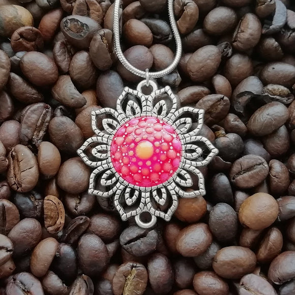 Glow-in-the-dark Dot Painted Pink Mandala Sunflower Pendant