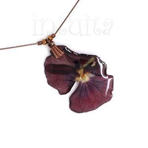 Small, Dark Purple Pressed Real Flower Pendant