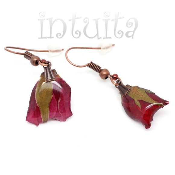 Small Dark Magenta Dangle Earrings
