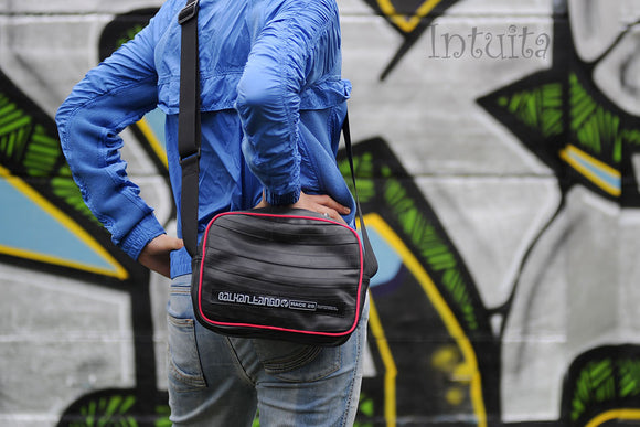 Recycled & Upcycled, Medium Bicycle Tube Bag With Magenta Edges