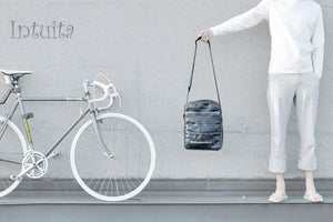 Retro Recycled Bicycle Tire Shoulder Bag With Grey Edges