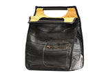 Chic Recycled Bike Tire Handbag With Yellow Inner Part