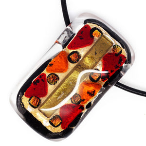Gold, Red And Orange Color Fused Glass Necklace with Dichroic Intuita