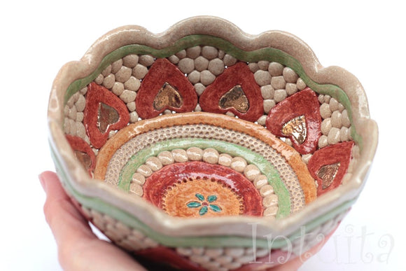 Autumn Leaf Design Red and Beige Color Gilded Mosaic Ceramic Bowl