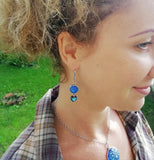 Glow-in-the-dark Dot Painted Royal Blue Glass Earrings With Swarovski Heart Charms