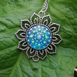 Glow-in-the-dark Dot Painted Royal Blue Mandala Sunflower Pendant
