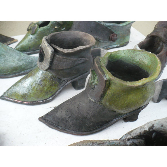 Baroue Style Raku Ceramic Shoe Shape Flower Pot