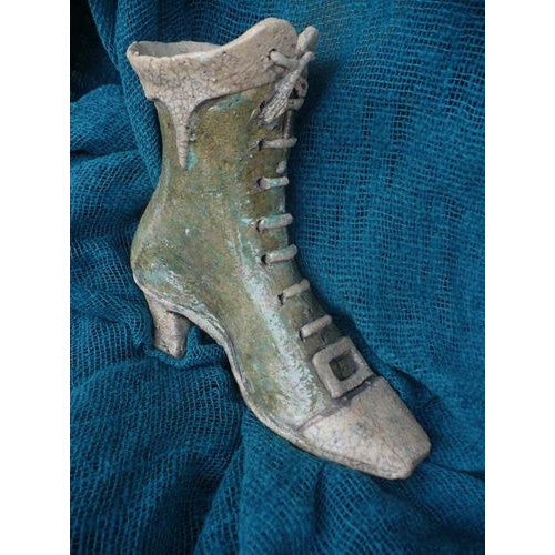 Raku Ceramic Mary Poppins' Boot Shape Inspired Flower Pot