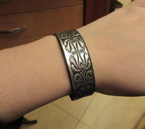 Silver Color Leather Band Bracelet with Traditional Hungarian Embossing For Men