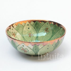 Forest Green Color Gilded Etched Small Ceramic Bowl With Wild Flower Design