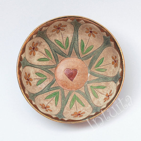 Pastel Peach and Blue Color Gilded Etched Small Ceramic Bowl With Wild Flower Design