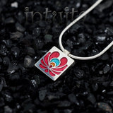 High Fashion Style Small Matyo Design Colorful Plexiglas and Sterling Silver Necklace