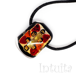 Gold, Red And Orange Color Small Fused Glass Necklace with Dichroic