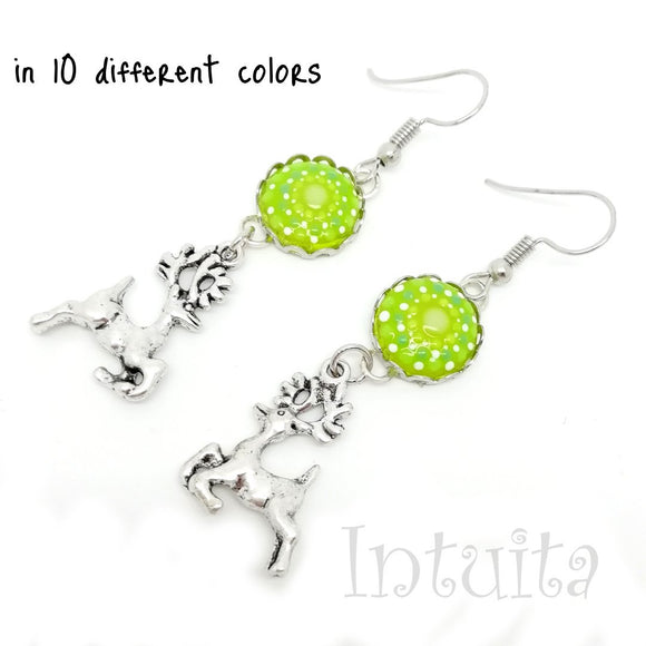 Glow-in-the-dark Dot Painted Glass Earrings With Reindeer Charm