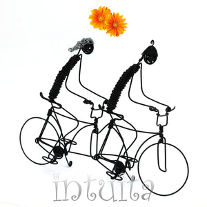 Lovers Riding a Tandem Bicycle Wire Figurine