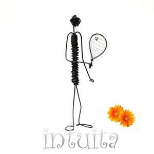 Tennis Player Wire Figurine