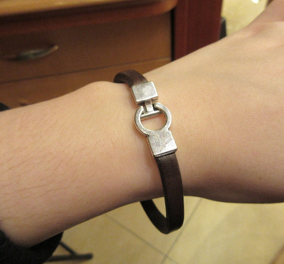 Thin Brown Color Leather Band Bracelet For Men