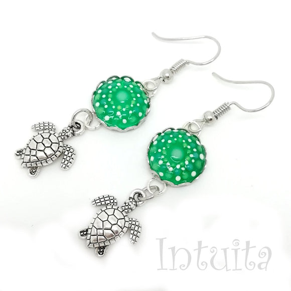 Glow-in-the-dark Dot Painted Glass Earrings With Turtle Charm