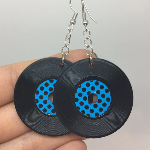 Blue Color Dotty Vinyl Earrings That Resemble Old Records