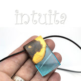 Minimalist Design Clear Blue Resin and Wood Pendant