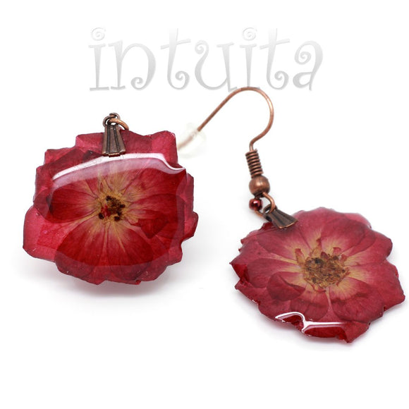 Large Claret Pressed Real Flower Dangles