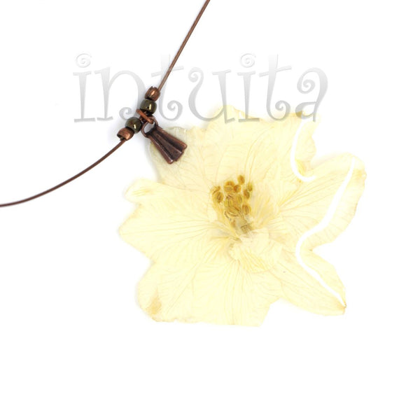 White Pressed Real Flower Pendant