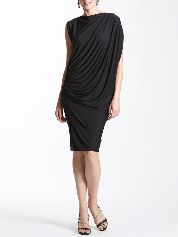 Asymmetric Sleeve Ruched Short Dress