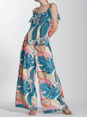 Tropical Printed Wide Leg Pants in Crinkled Chiffon