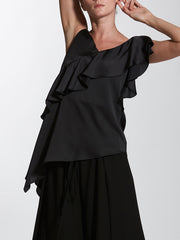 Camisole Plunge Neck Top with Flounce Detail
