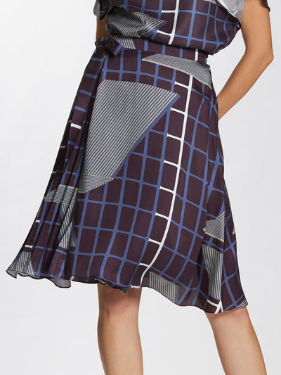 Geometric Printed Wrap Front Pleated Skirt