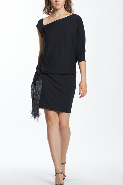 Asymmetric Sleeve Knot Detail Short Dress with Fringes