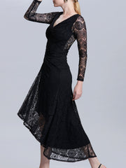 Long Sleeves Ruched Lace Dress
