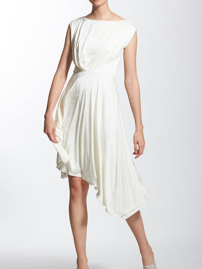 Cap Sleeves Asymmetric Hem Line Dress