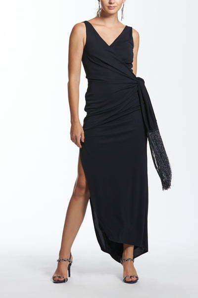 Wrap Front Knot Detail Long Dress with Fringes