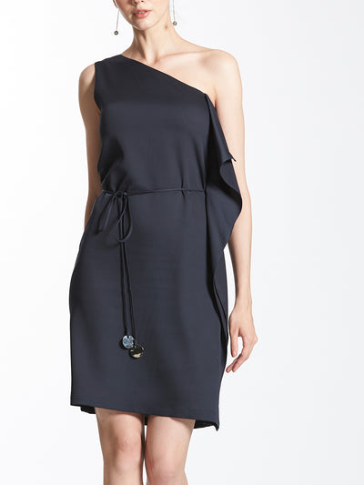 One Shoulder Waterfall Shift Dress with Metal Ending String