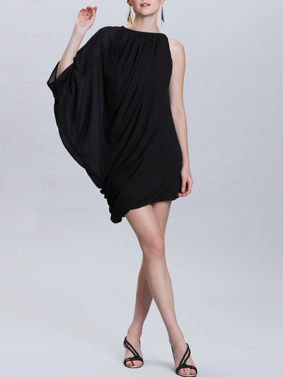 Asymmetric Shoulder Shift Dress