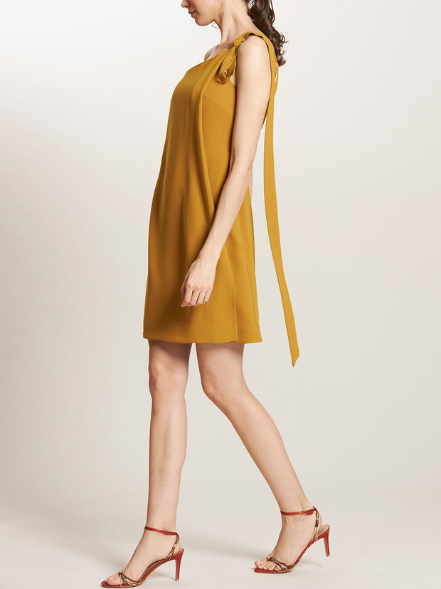 One Shoulder Overlapped Shift Dress with Tie Sash