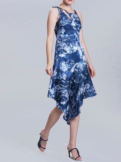 Radiographic Floral Print Sleeveless Pleated Dress
