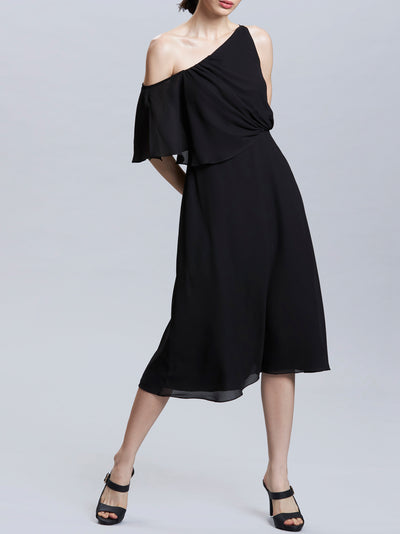 Asymmetric Shoulder Knee Length Dress