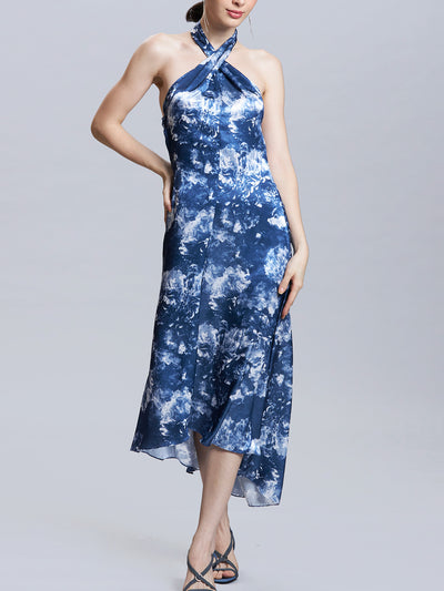 Radiographic Floral Print Halter Neck Dress