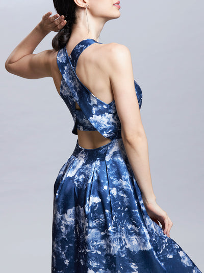 Radiographic Floral Print Cross Back Long Dress