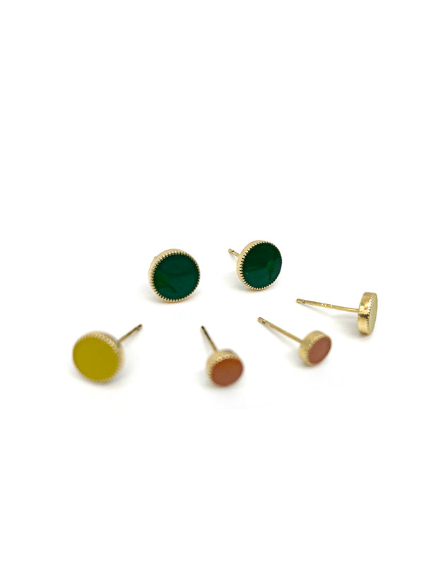 Set of 3 Round Stud Earrings
