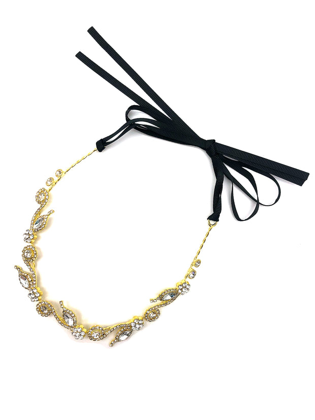 Diamante Floral Ribbon Choker